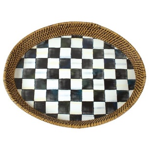 Courtly Check Rattan & Enamel Tray – Large